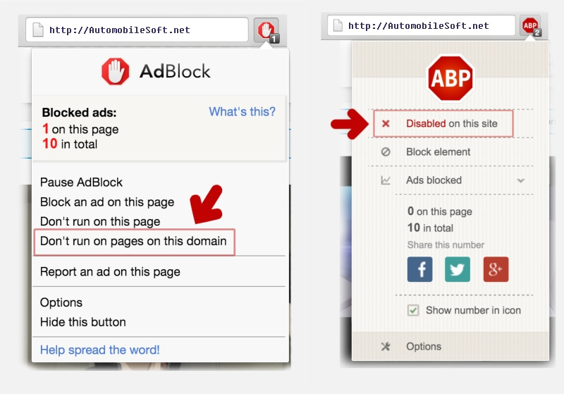 Disable an Ad Blocker for Site