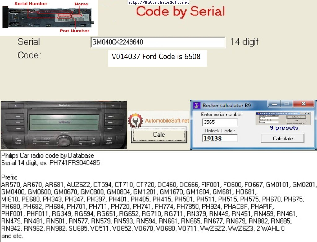 Radio Code Calculator | Automobile Radio Decoder | Free